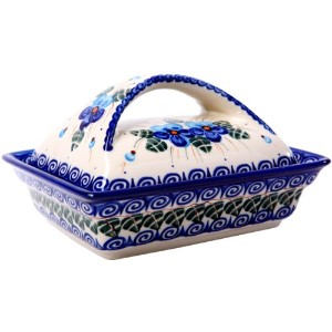Polish Pottery Ceramika Boleslawiec, 0352/162, Butter Dish Deep, 2 Cubes, Royal Blue Patterns with...