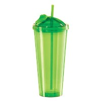 Oggi 7357.11 Double Walled Tumbler with Slide-Open Straw, 20-Ounce, Green   水筒 タンブラー グリーン 600ml