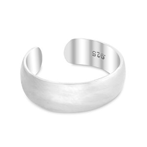 925 Sterling Silver Shiny Plain Toe Ring 4mm Band (Resizable)