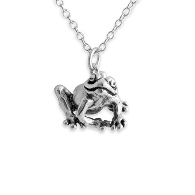 925 Sterling Silver Frog Pendant Necklace (14 Inches)
