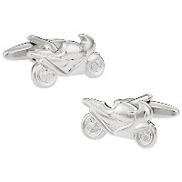 Cuff - Daddy Sport Bike Silver Cufflinks withプレゼンテーションボックス
