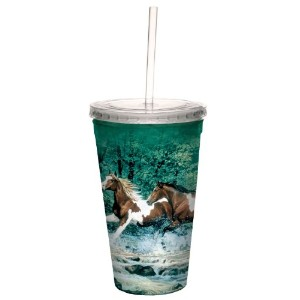 Tree-Free Greetings 80009 Spring Creek Run Collectible Art Double Wall Cool Cup with Straw, 16...