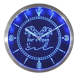 LEDネオンクロック 壁掛け時計 nc0371-b Bar is Open Palm Tree Neon Sign LED Wall Clock