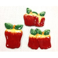 Tuscan Hand Painted Set of 3 Assorted Apple Magnets 3-3/4H, 87486 by ACK by ACK
