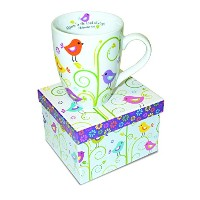 Divinity Boutique Inspirational Ceramic Mug - Birds and Plants, Philippians 4:4, Rejoice In The...