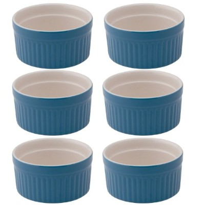 Mrs. Anderson's Baking Ceramic 2-Ounce Ramekin, Set of 6, Bayberry Blue by HIC Harold Import Co.