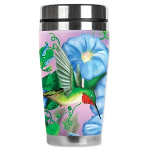 Mugzie Hummingbird & Flowers Travel Mug with Insulated Wetsuit Cover, 16 oz, Black by Mugzie