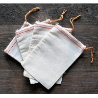 Cotton Muslin Bags 4x6 Inch Red Hem Orange Drawstring 50 Count Pack by Celestial Gifts