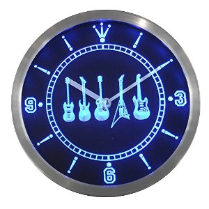 LEDネオンクロック 壁掛け時計 nc0450-b Guitar Weapons Hero Bar Beer Neon Sign LED Wall Clock