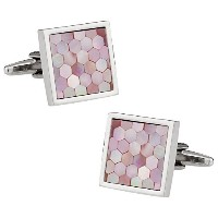 Cuff - DaddyピンクMother of Pearl Honeycomb Cufflinks withプレゼンテーションボックス