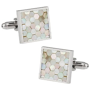 Cuff - Daddy Mother of Pearl Honeycomb Cufflinks