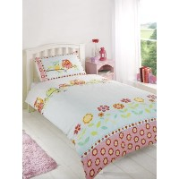 Childrens Girls Owls Duvet Cover Quilt Bedding Set, Single (Flowers, Hearts, Pink, Yellow, Blue) by...