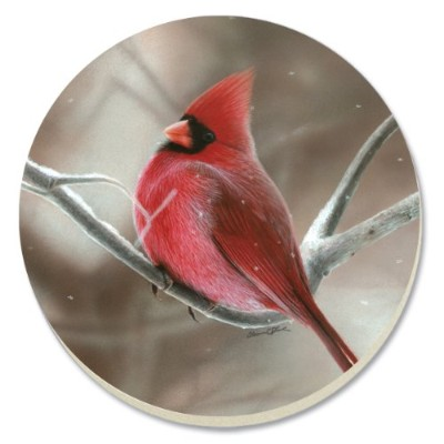 CounterArt Decorative Absorbent Coasters, Winter Cardinal, Set of 4 by CounterArt