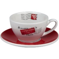 Konitz Coffee Bar Amore Mio No.3 Cafe Creme Cups/Saucers, Set of 4 by Konitz