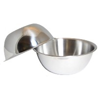 SET OF 2, 5-Quart Heavy-Duty Deep Stainless Steel Flat Base Mixing Bowl by Winco