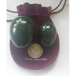 Nephrite Jade Eggs 2-pcs Set for Tightening Yoni Love Muscles, Drilled, with One Box Unwaxed Dental...