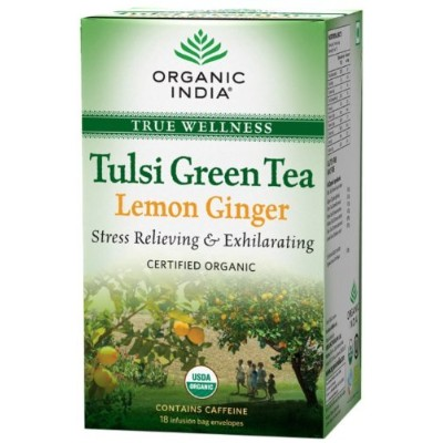 Organic India Tulsi Green - 18 Tea Bags (Lemon Ginger) by Organic India