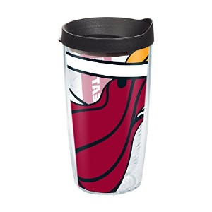 "Tervis 1084566 "" NBA Miami Heat "" Tumbler withブラック蓋、16オンス、クリア"