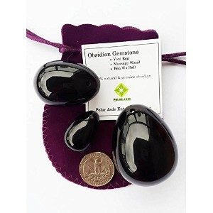 Yoni Eggs 3-PCS Set Made of Black Obsidian Gemstone, Drilled, for Strengthening Pelvic Floor...
