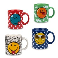 Konitz Assorted Smiley Mugs, Set of 4 by Konitz