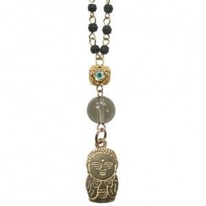 【iluck】お守りアクセ Bead necklace with HAPPY Buddha BBL01 [ジュエリー]
