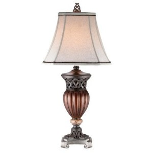 OK LIGHTING 32 in. Wooden Color Table Lamp by OK Lighting