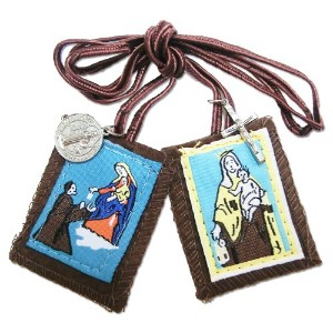 The Scaplar of Our Lady of Mount Carmel - Brown Wool W/Medal -