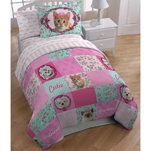 Princess Kitty Kitty Puppy 54x75 Full Sheet Set by Princess Kitty