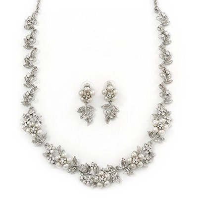 Bridal 'Flower' Simulated Pearl/Crystal Necklace & Drop Earring Set In Silver Metal - 46cm Length...