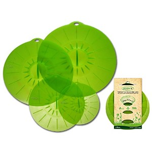 Ecov-8 Silicone Suction Lids (Leaf Green) - Set of 4 Bowl Covers - 6, 8 1/4, 10 1/4, 11 3/4 inches...