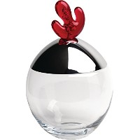 """Alessi """" Big Ovo """" Cookie Jar in Crystallineガラス蓋でスチールMirror Polished andノブin San、ザクロ"""
