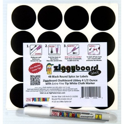 Ziggyboard Chalkboard for Small Spice Jar size Labels with Chalk Marker fit Libbey 4 1/2 Ounce ...
