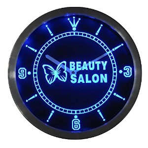 LEDネオンクロック 壁掛け時計 nc0258-b Beauty Salon Butterfly Shop Neon Sign LED Wall Clock