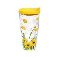 Tervis White Daisies Wrap Bottle with Yellow Lid, 24-Ounce, Garden Party by Tervis