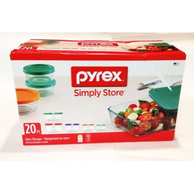 Pyrex Simply Foodストア20pcセット (2) 1 cups, (2) 2 cups, (2) 3 cups (2) 4 cups (2) 7 cups P 1111898