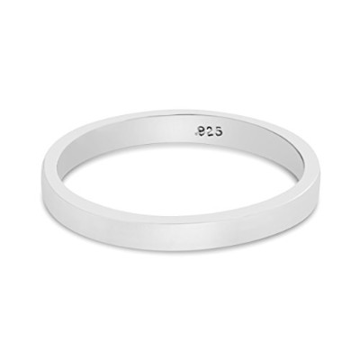 925 Sterling Silver Plain Stackable Ring Band (6.5)