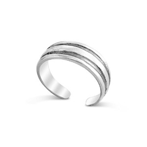 925 Sterling Silver Double Groove Toe Ring (Resizable)