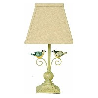 Out on a Limb Scrolling Birds Antique White Table Lamp by A Homestead Shoppe
