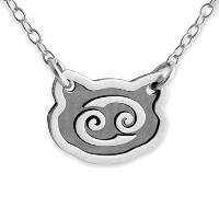 Two-Tone 925 Sterling Silver Belcho Zodiac Cancer Horoscope Necklace (22 Inches)