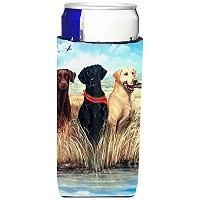 Labrador Black Chocolate and Yellow Ultra Beverage Insulators for slim cans VLM1003MUK [並行輸入品]