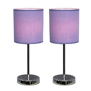 Simple Designs LT2007-PRP-2PK Chrome Mini Basic Table Lamp 2 Pack Set with Fabric Shades, Purple by...