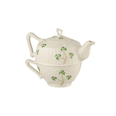 Belleek Pottery Harp Shamrock Tea for One, Green/White by Belleek Pottery