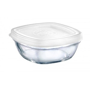 Duralex–Lys Square Stackable Bowl With White Lid 9-cm ( 31/ 2in )