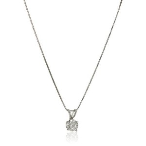 """Curated 14k White Gold Diamond (1/2 cttw, H-I Color, I1-I2 Clarity) Solitaire Pendant Necklace, 18""""..."""