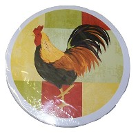 Cooking Concepts Set of 4 Burner Covers ~ Rooster on Multicolored Squares by Cooking Concepts