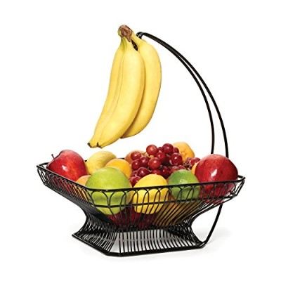 Gourmet Basics by Mikasa Countryside Fruit Basket with Banana Hook, Antique Black by Gourmet Basics...