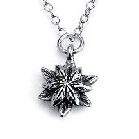 925 Sterling Silver Flower Charm Pendant Necklace (14 Inches)