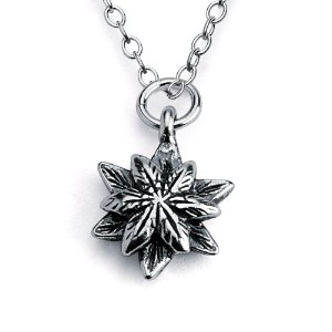 925 Sterling Silver Flower Charm Pendant Necklace (18 Inches)
