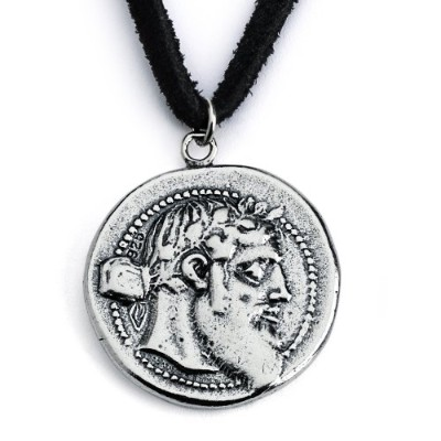 925 Sterling Silver Replica Dionysos Greek Coin Pendant Necklace