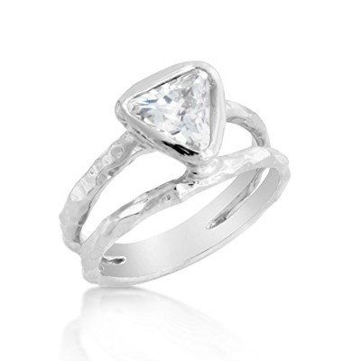 925 Sterling Silver Doubled Banded Ring With CZ (10.5)